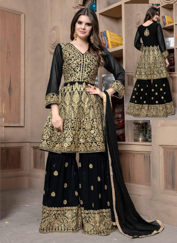 36aec502fb Georgette Black Wedding Wear Heavy Embroidery Work Sharara Suit, Rs ...