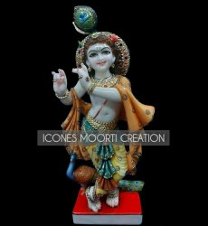 Fancy Color Marble Krishna Statue