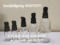 Clear Glass Bottle With Lotion Or Oil Pumps