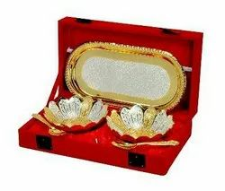 Silver & Gold Plated Brass Bowl Set 5 Pcs. (Bowls 4 Diameter & Tray 8x4.25)