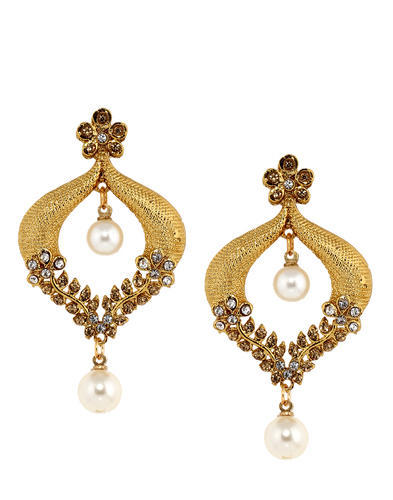 Gold Brown Stone Earring