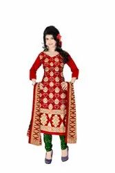 Red And Green Color Fancy Design Gadhwal Bandhani Dress Material