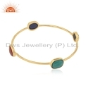 Dws Women Gold Plated Silver Natural Gemstone Bangle Jewelry