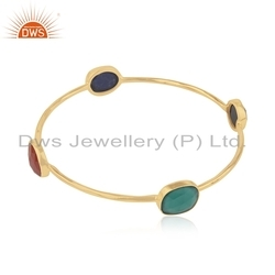 Gold Plated Silver Natural Gemstone Bangle Jewelry
