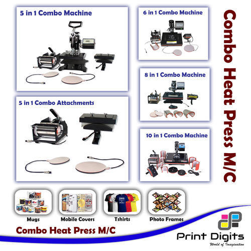 5 IN 1 Combo Heat Press Machine for T- Shirt Mug Cap Plate at Rs ... 45ae2db0f961