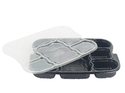 Disposable Meal Tray Black With Lid 8 Compartments