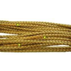 Antique Yellow Braided Leather Cords