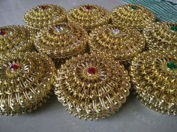 Round Golden Jewellery Box