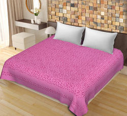 Saavra Pink Color Cut Work Cotton Double Bedsheet