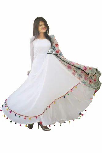 6809a3a90b White Georgette Beautiful Georgette Lashkara Anarkali Dress For Women