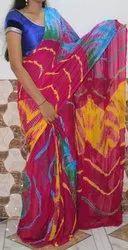 Blue & Red Mix Nazmin Bandhej Saree, Length: 5.5 Meter