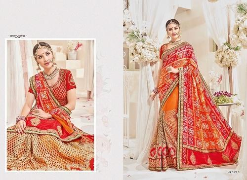 82436c555d30c Bridal Silk Heavy Red And Orange Saree With Blouse Piece