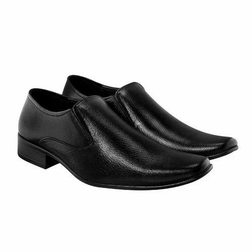 Bellatoes Men Plain Black Leather
