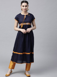 NAVY BLUE DOBBY WOVEN A-LINE KURTA WITH EMBROIDERED