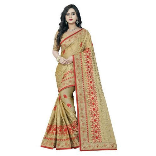 bd3b4b20e3 Party Wear Chiffon Hand Embroidered Saree, With Blouse Piece, Rs ...