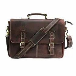 Brown Unisex Vintage Leather Portfolio Bag