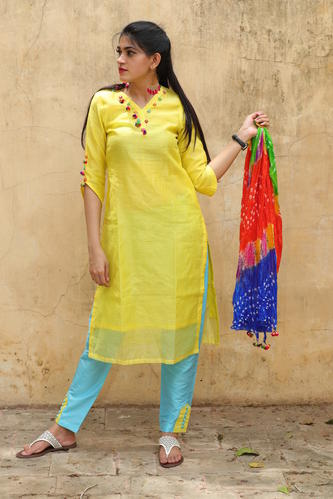 Chanderi 3/4th Sleeve Printed Kurti, Size: S-XL