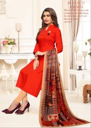 Flame Red Rayon Kurti with Digital Print Dupatta