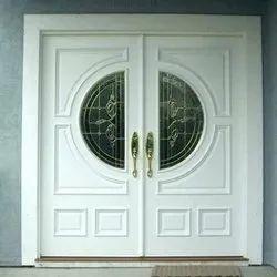 Wood Hinged Home Main Door, White