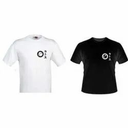Black And White Cotton Promotional Round Neck T Shirts, Size: S-XXL