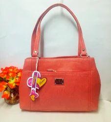 Light Pink Leather Look Trendy Handbag