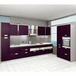 PVC Purple Straight Modular Kitchen
