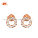 Cubic Zirconia Gemstone Rose Gold Plated Silver Stud Earring