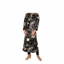 Casual Wear Straight Ladies Stylish Printed Cotton Kurti, Machine wash