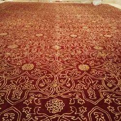 Red and Golden Printed Designer Carpet Roll