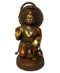 Aakrati Multicolor Kneeling Lord Hanuman Statue Made In Brass Metal Statue