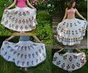 Hand Block Printed Long Skirt Flower Print