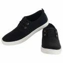 Mens Black Canvas Lace Up Shoes
