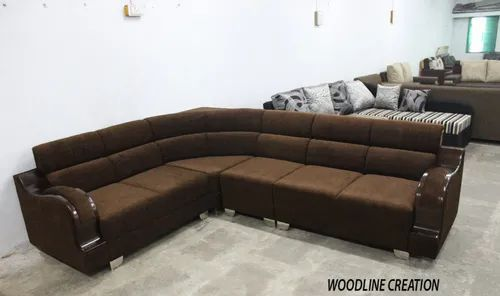 L Shape 7 X 9 Algeria Sofa Set Brown With Wooden Handle On Emi Rs
