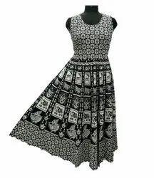 Black White Printing SAI SAMARTH Long midi, Size: Xl