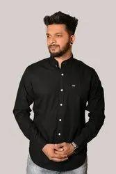 Casual Wear Cotton Black Plain Shirt