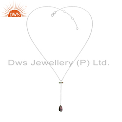 Longing Tourmaline Gemstone Fine Silver Chain Necklace