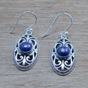 925 STERLING SILVER UNIQUE JEWELRY LAPIS LAZULI GEMSTONE EARRING WE-5489