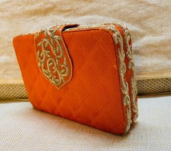 SG Craft Bazar Private Limited Raw Silk Handmade Embroidered Clutch