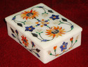 White Rectangular Marble Inlay Box, For Home