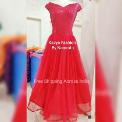 Sequenced Western Wear Princess Red Gown, Size: Medium