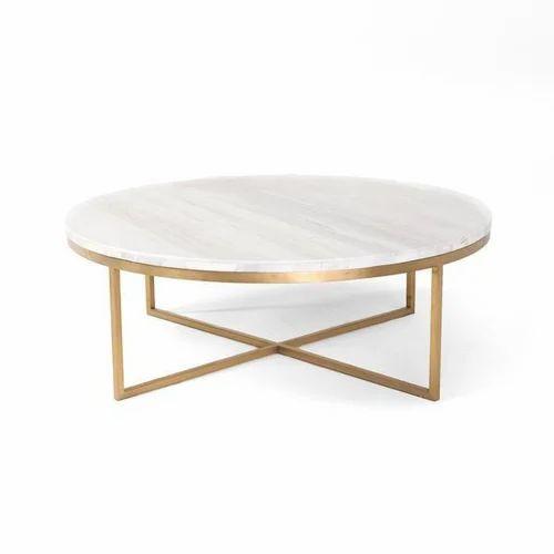 Living Room Metal Side Table Marble Top