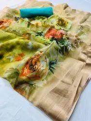 Printed 1100 Designer Organza Saree, Machine Made, 6.3 m (with blouse piece)