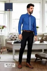 Solid Blue Mens Formal Unstithed Uniform Shirt and Pant for Corporate Uniforms