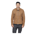 Full Sleeve Brown Mens Fitted Leather Jacket