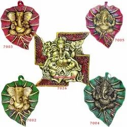 Leaf Ganesha  While Metal - Many Colors