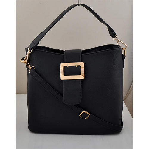 Black Plain Simple Leather Ladies Bag c004fd903e20d
