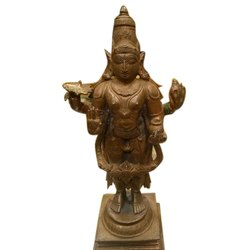 Golden (Gold Plated) Visnu Brass Vishnu Statue, For Decoration, Size: 16 Inch(height)