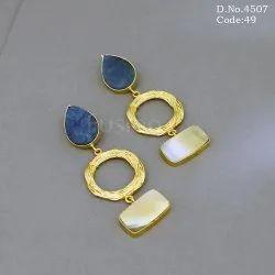 Designer Druzy Shell Hanging Earrings