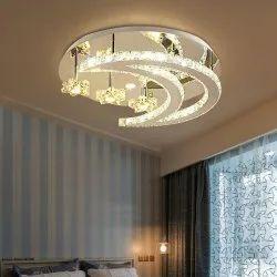 Round Ceiling Crystal Pendant LED Light Chandelier, For Decoration