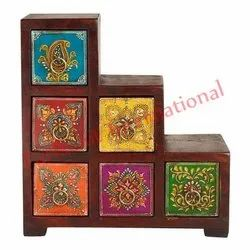 Rectangle Painted Handicraft Wooden Box, Size: 9.2